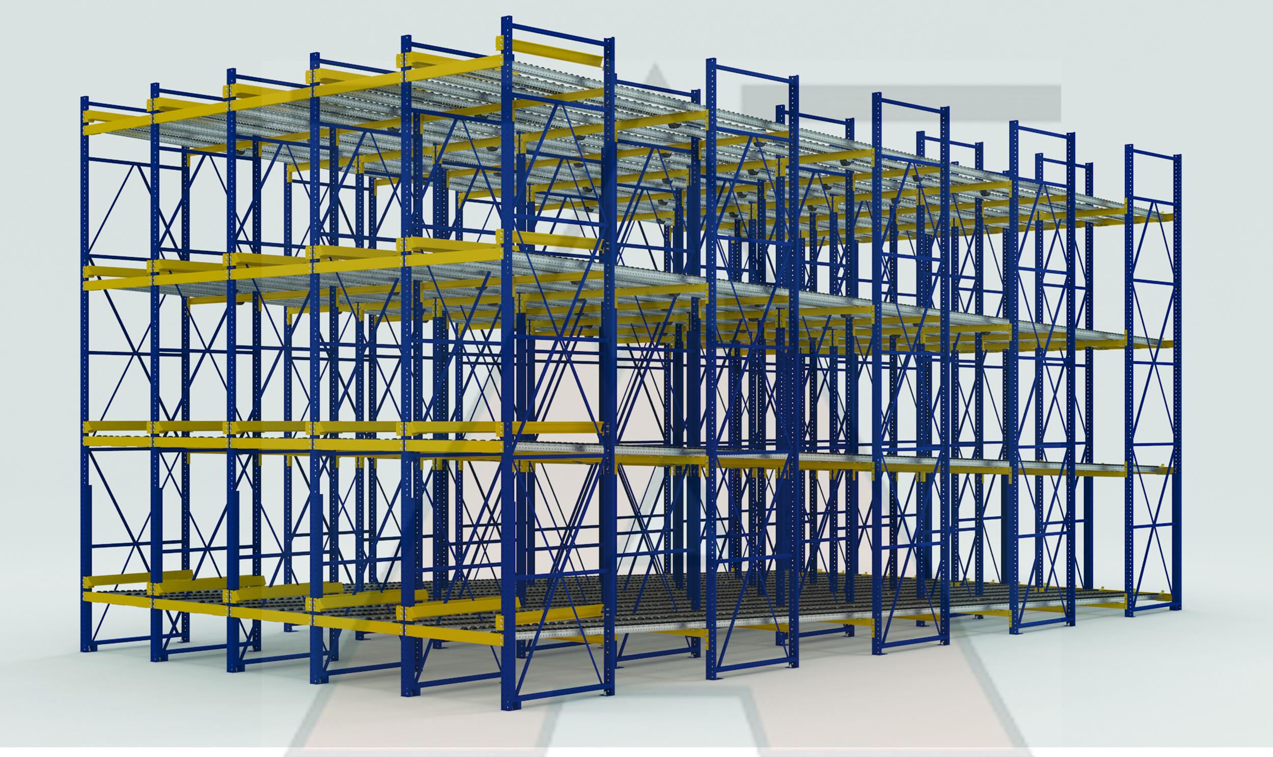 Pallet Flow Storage Rack Illustrations