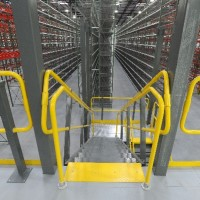 Shelving system warehouse mezzanine stairs