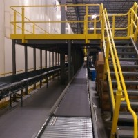 Warehouse conveyor near mezzanine